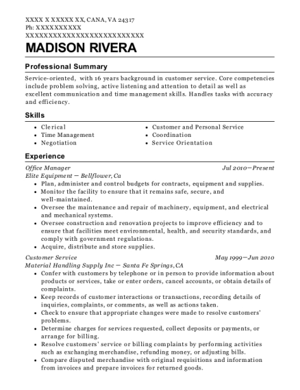 Office Manager resume format Virginia