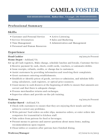 Head Cashier resume format Virginia