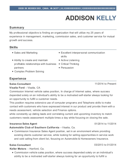 Sales Consultant resume sample Virginia
