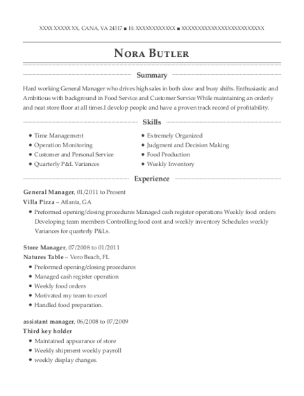 General Manager resume format Virginia