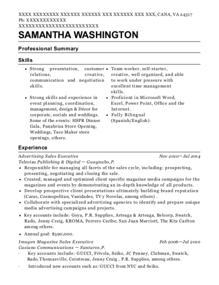 Advertising Sales Executive resume example Virginia