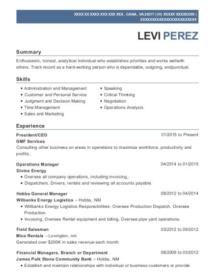 President resume sample Virginia