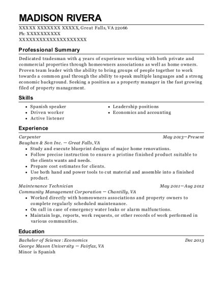 Carpenter resume format Virginia
