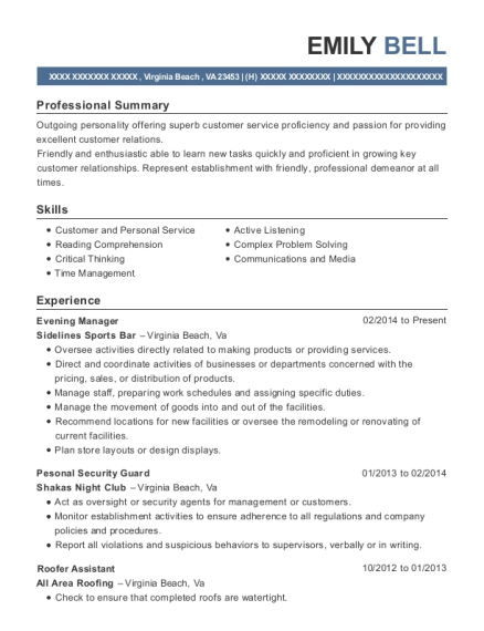 Evening Manager resume format Virginia