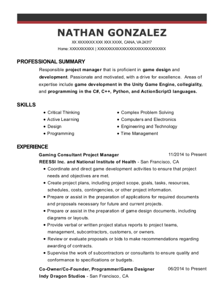Gaming Consultant Project Manager resume example Virginia