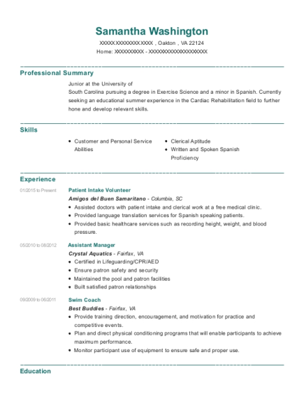 Patient Intake Volunteer resume example Virginia