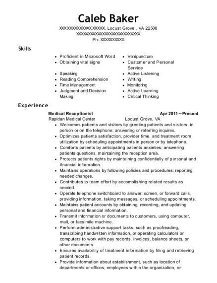 Medical Receptionist resume template Virginia