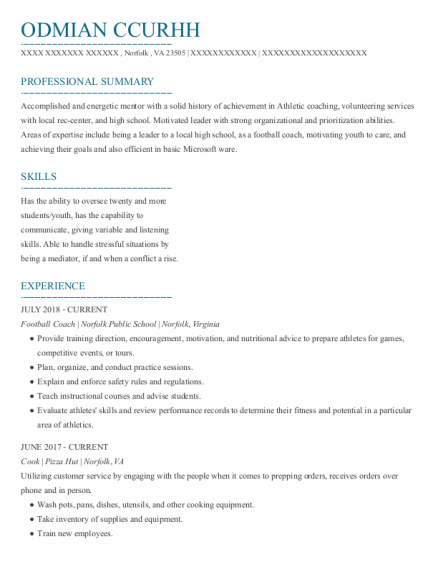 Football Coach resume format Virginia