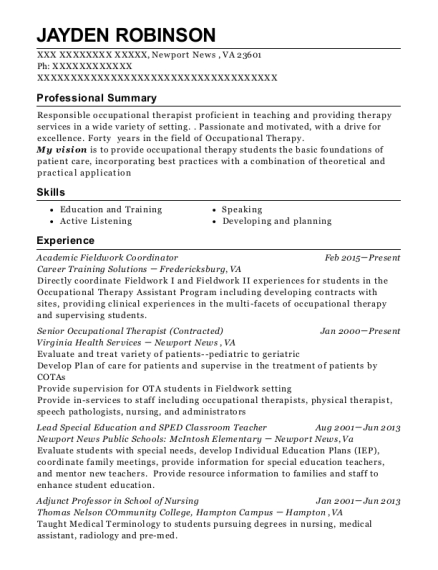 Academic Fieldwork Coordinator resume template Virginia