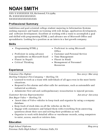 Volunteer Fire Fighter resume template Virginia