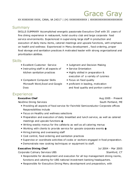 Executive Chef resume example Virginia