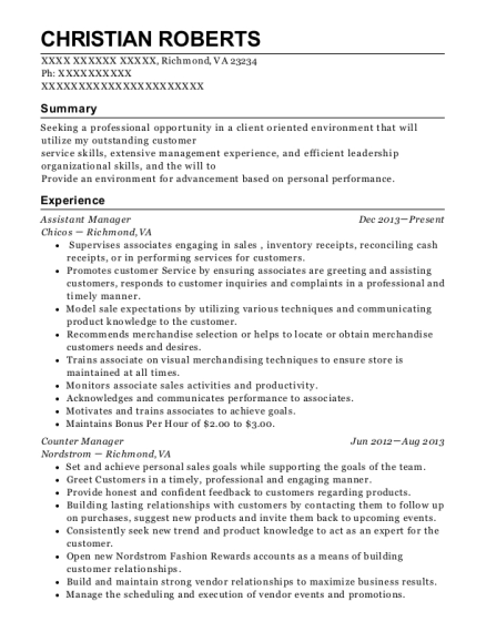 Assistant Manager resume sample Virginia