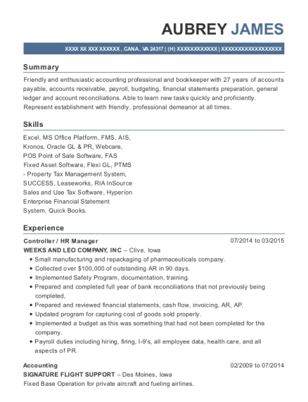Controller resume template Virginia