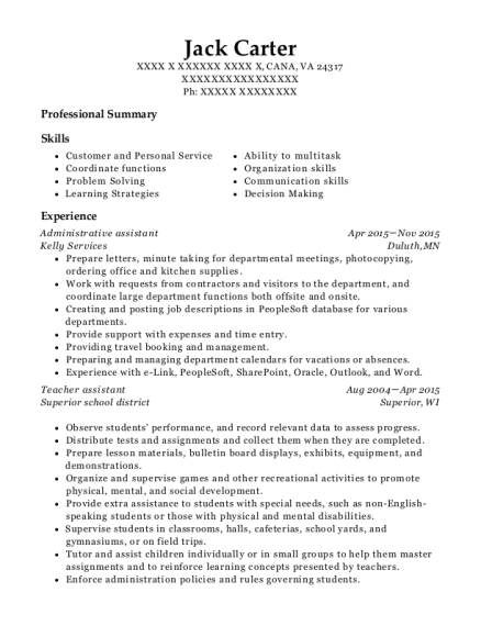 Administrative Assistant resume template Virginia