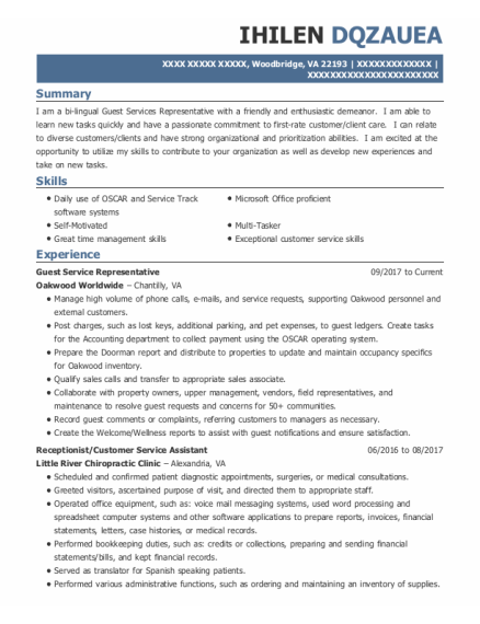 Guest Service Representative resume example Virginia