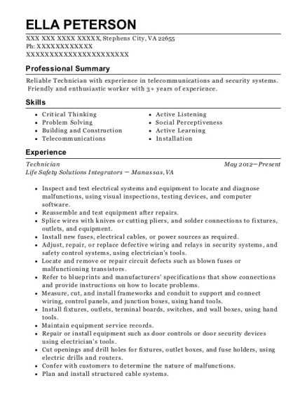 Technician resume sample Virginia