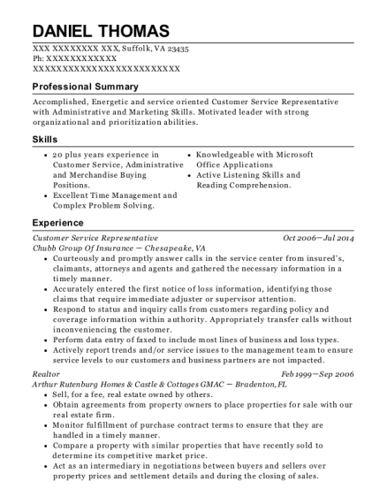 Customer Service Representative resume sample Virginia