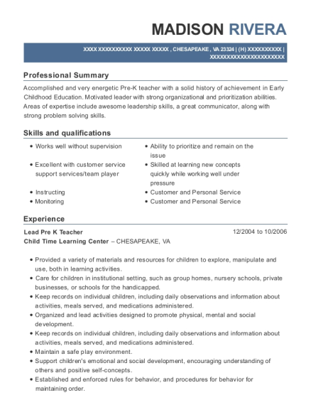 Lead Pre K Teacher resume sample Virginia