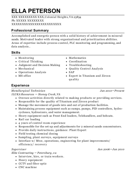 Metallurgical Technician resume example Virginia