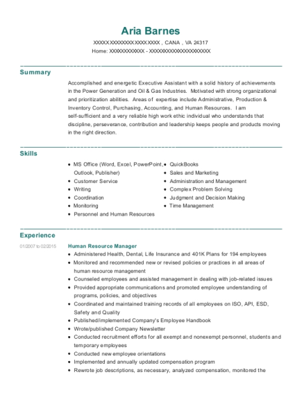 Human Resource Manager resume example Virginia