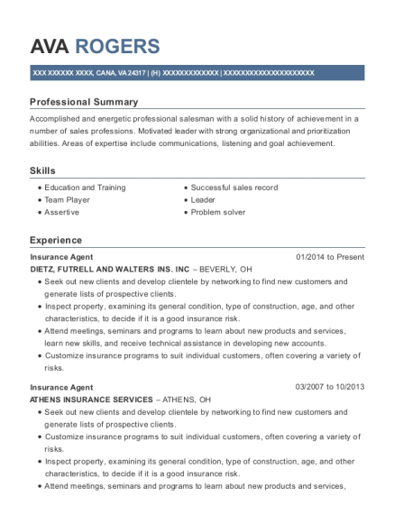 Insurance Agent resume example Virginia