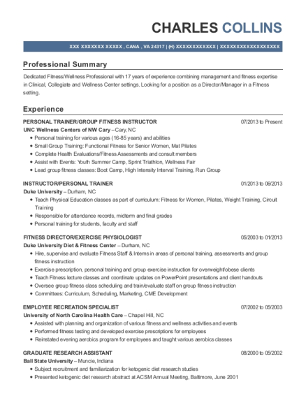 PERSONAL TRAINER resume example Virginia