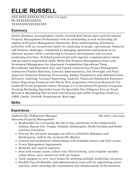 Jacksonville resume sample Virginia
