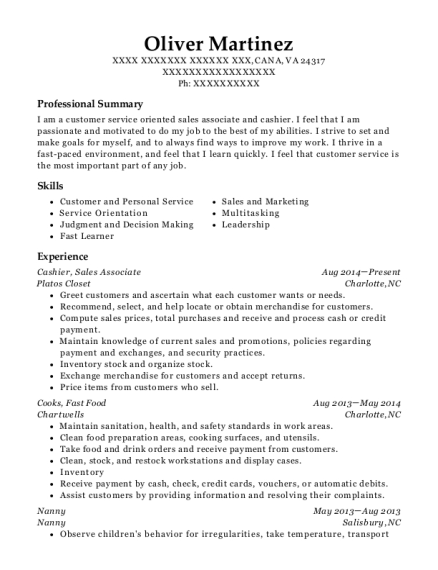 Cashier resume example Virginia