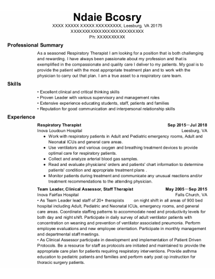 Respiratory Therapist resume example Virginia