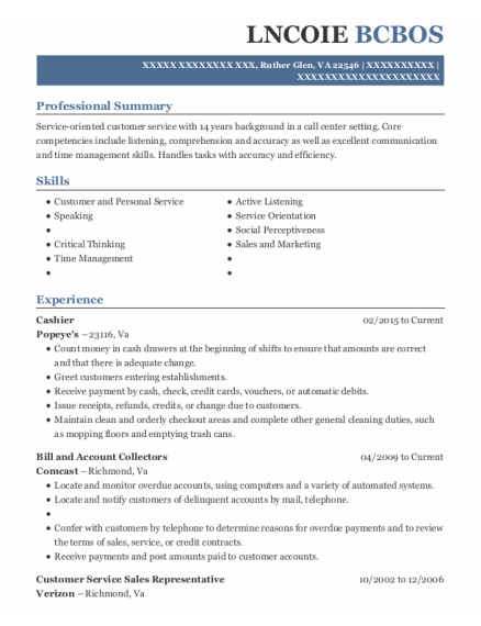 Cashier resume sample Virginia