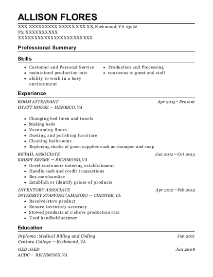 ROOM ATTENDANT resume template Virginia