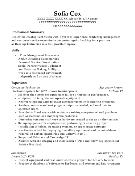 Computer Technician resume format Virginia