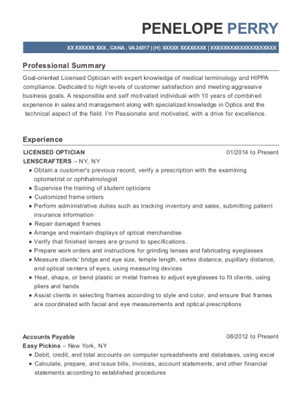 LICENSED OPTICIAN resume template Virginia