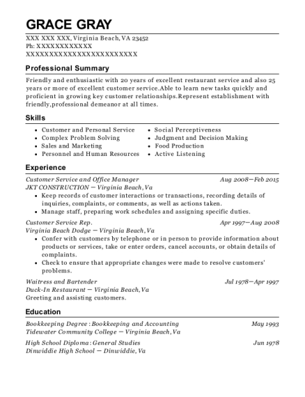 Customer Service and Office Manager resume format Virginia