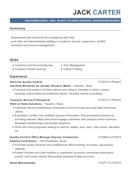 Delivery resume example Virginia