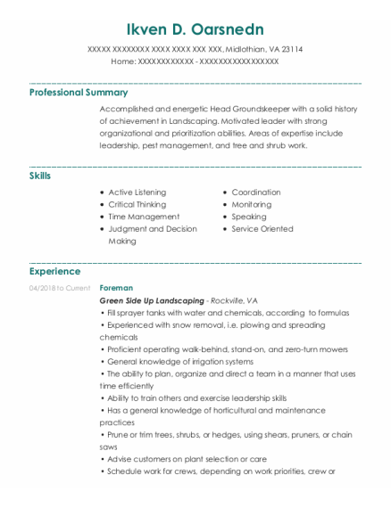 Foreman resume example Virginia