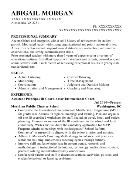 Assistant Principal resume format Virginia