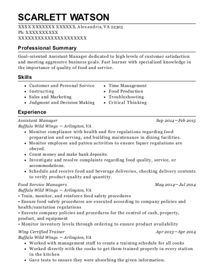 Assistant Manager resume example Virginia