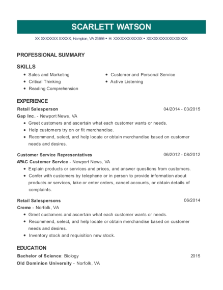 Retail Salesperson resume format Virginia