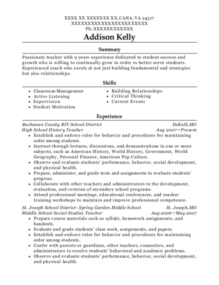High School History Teacher resume format Virginia