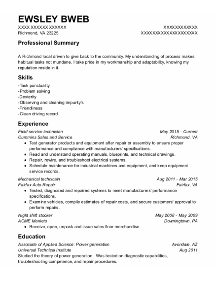 Field Service Technician resume example Virginia