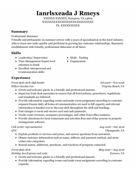 Call Center Representative resume sample Virginia