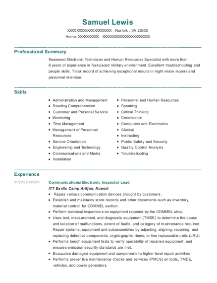 Communications resume sample Virginia