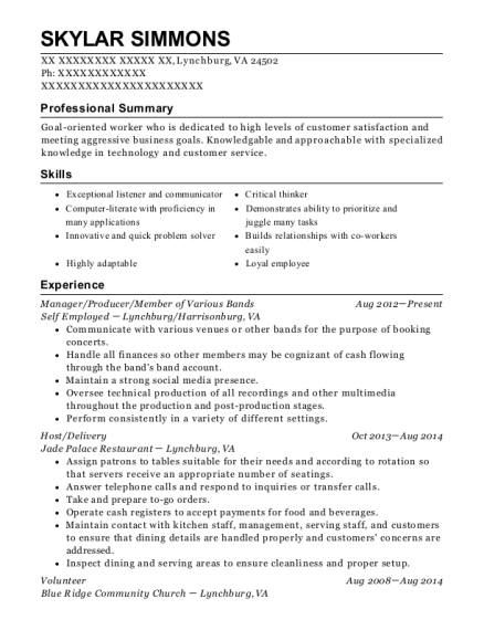 Manager resume sample Virginia