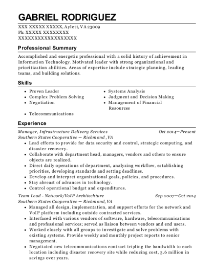 Manager resume example Virginia