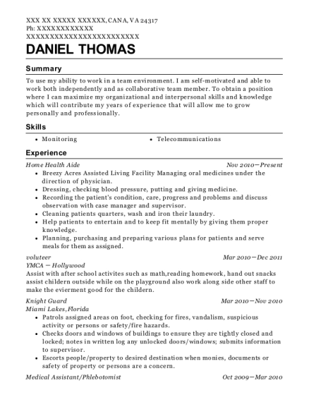 Home Health Aide resume format Virginia