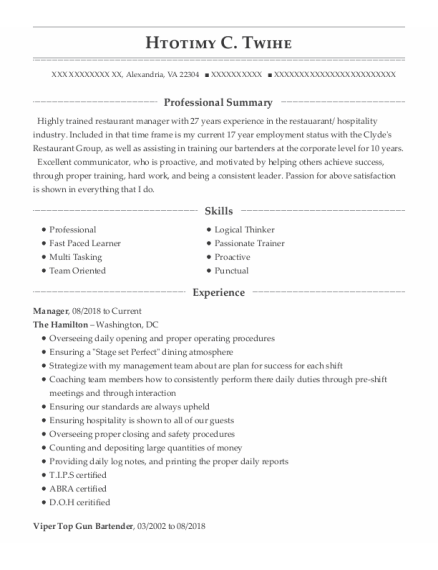 Manager resume format Virginia