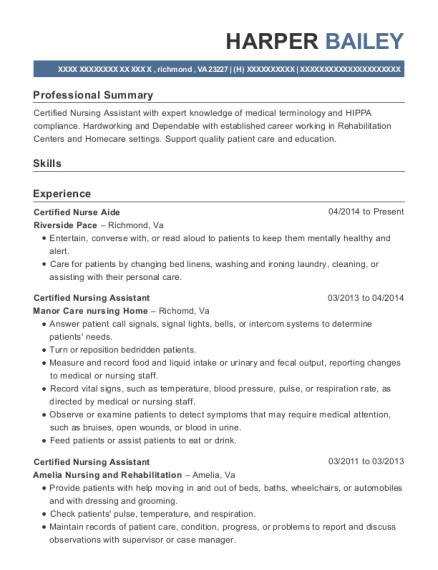 Certified Nurse Aide resume sample Virginia