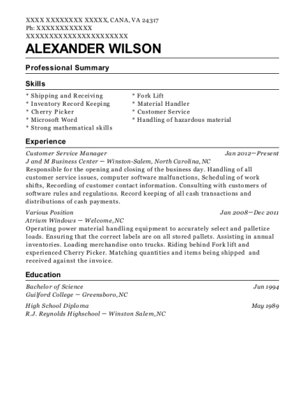 Customer Service Manager resume example Virginia