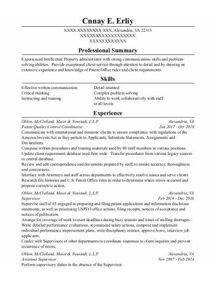 Supervisor resume example Virginia